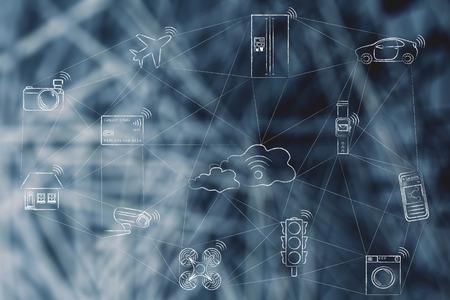 internet delle cose, oggetti intelligenti connessi in rete che comunicano attraverso una rete (disegnata a mano a basso poli ispirato)