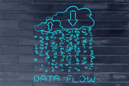 data flow: Data Flow: metaphor of cloud computing with binary code rain and arrows Stock Photo