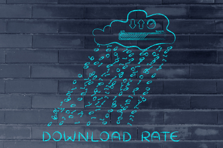Download rate: cloud with binary code rain & uploads & downloads progress bar with speedometer Stock Photo