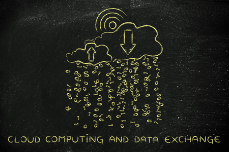 Cloud computing & Data Exchange: clouds with binary code rain, wi-fi insired sun, uploads & downloads arrows Stock Photo