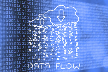 Data Flow: metaphor of cloud computing with binary code rain and arrows Stock Photo