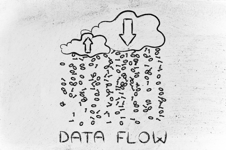 cloud network: Data Flow: metaphor of cloud computing with binary code rain and arrows Stock Photo