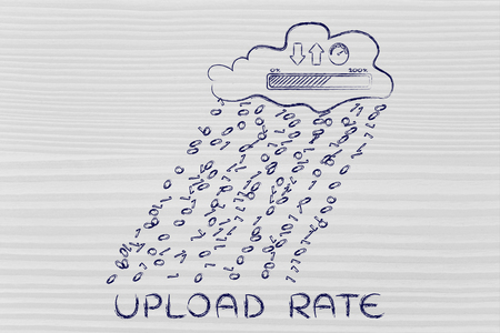 Upload rate: cloud with binary code rain & uploads & downloads progress bar with speedometer