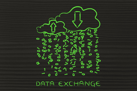 cloud network: Data Exchange: metaphor of cloud computing with binary code rain and arrows