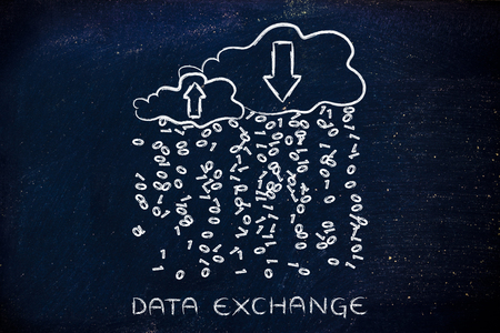 Data Exchange: metaphor of cloud computing with binary code rain and arrows