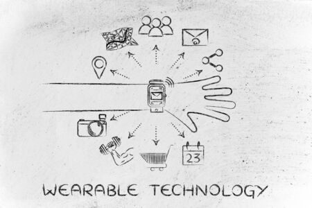 functions: Wearable Technology: smartwatch user with functions and icons apps coming out of the screen
