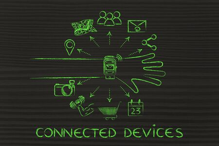 Connected Devices: smartwatch user with functions and icons apps coming out of the screen