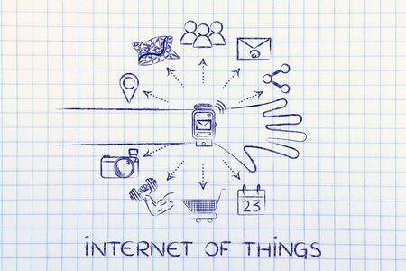 functions: Internet of Things: smartwatch user with functions and icons apps coming out of the screen Stock Photo
