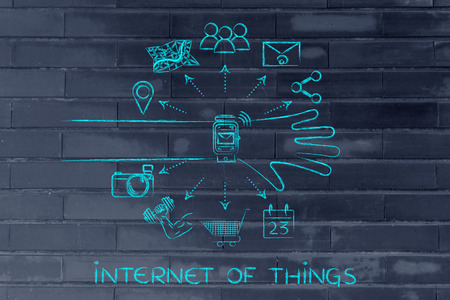 coming out: Internet of Things: smartwatch user with functions and icons apps coming out of the screen Stock Photo