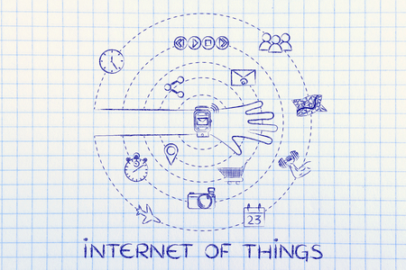functions: internet of things: smartwatch user with functions and apps spinning around his wrist