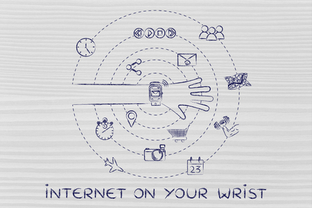 wrist: internet on your wrist: smartwatch user with functions and apps spinning around his wrist