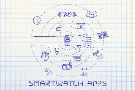 smartwatch apps: user with functions and apps spinning around his wrist