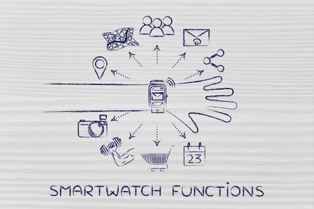 functions: Smartwatch functions: user wearing device with functions and icons apps coming out of the screen