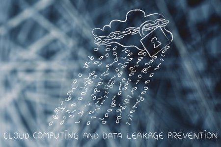 Data leakage prevention: cloud with binary code rain & lock and chain for data security Stock Photo