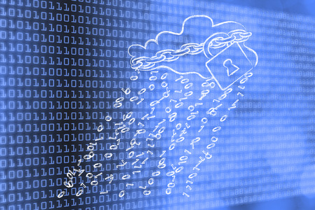 Cloud with binary code rain & lock and chain for data security Stock Photo
