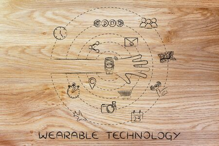 wearable technology: smartwatch user with functions and apps spinning around his wrist Stock Photo