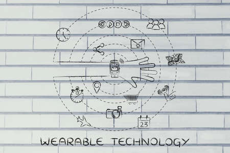 functions: wearable technology: smartwatch user with functions and apps spinning around his wrist Stock Photo