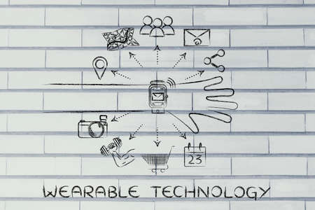 Wearable Technology: smartwatch user with functions and icons apps coming out of the screen