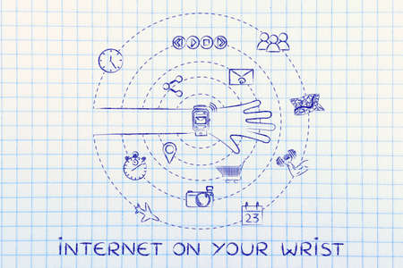 internet on your wrist: smartwatch user with functions and apps spinning around his wrist