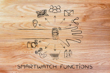 Smartwatch functions: user wearing device with functions and icons apps coming out of the screen