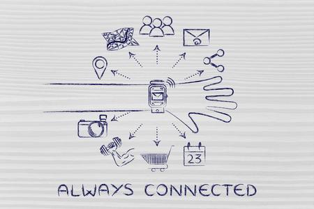 Toujours connecté: utilisateur smartwatch avec des fonctions et des icônes d'applications sortant de l'écran Banque d'images - 52689687