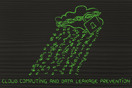 leakage: Data leakage prevention: cloud with binary code rain & lock and chain for data security Stock Photo