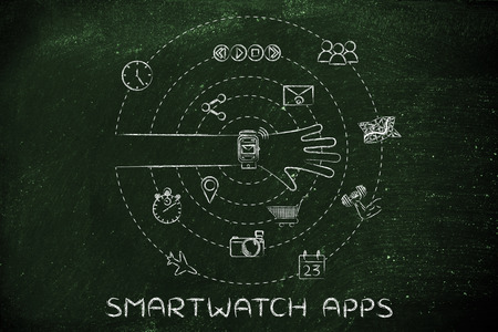 functions: smartwatch apps: user with functions and apps spinning around his wrist