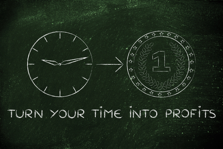 profiting: turn your time into profits: clock with arrow pointing at a coin