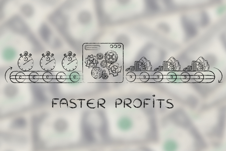 faster: faster profits: production line machine turning stopwatches into coins and banknotes