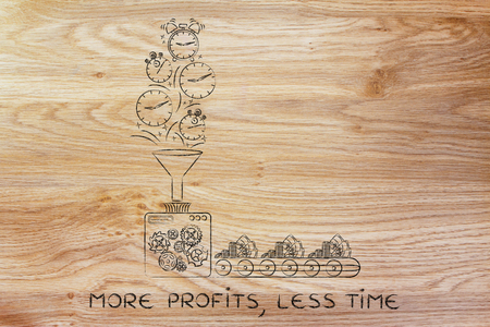transforming: more profits, less time: production line machine with funnel transforming clocks & stopwatches into cash Stock Photo