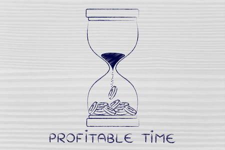 profitable: profitable time: hourglass with sand turning into coins