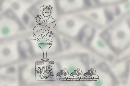 transforming: production line machine with funnel transforming time (clocks & stopwatches) into money