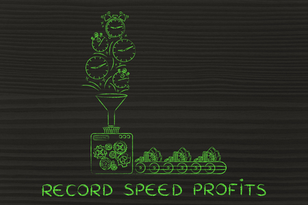 transforming: record speed profits: production line machine with funnel transforming clocks & stopwatches into cash