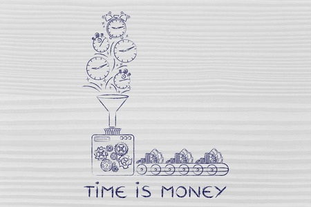 transforming: time is money: production line machine with funnel transforming clocks & stopwatches into cash