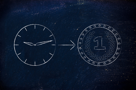capital gains: from time to money: clock with arrow pointing at a coin