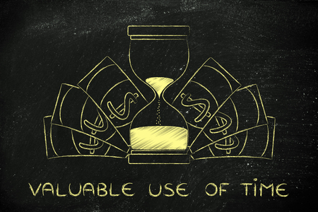 valuable: valuable use of time: hourglass surrounded by cash