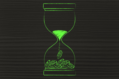 capital gains: concept of time is money: hourglass with sand turning into coins