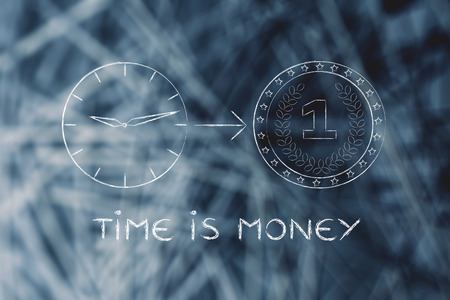 capital gains: time is money: clock with arrow pointing at a coin Stock Photo