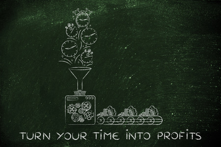 transforming: turn your time into profits: production line machine with funnel transforming clocks & stopwatches into cash