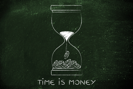 capital gains: time is money: hourglass with sand turning into coins Stock Photo