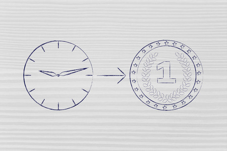 profiting: from time to money: clock with arrow pointing at a coin