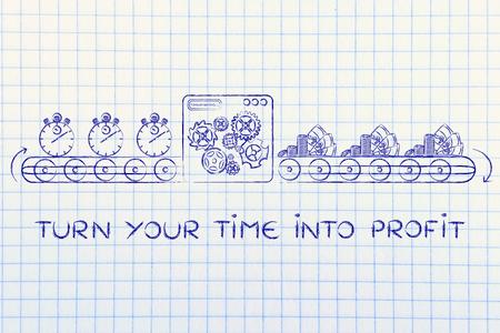schalten Sie Ihre Zeit in Gewinne: Produktionslinie Drehmaschine Stoppuhren in Münzen und Banknoten Standard-Bild