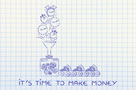 transforming: time to make money: production line machine with funnel transforming clocks & stopwatches into cash Stock Photo