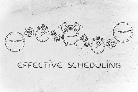 scheduling: effective scheduling & time management: different clocks, stopwatches, alarms & gearwheels