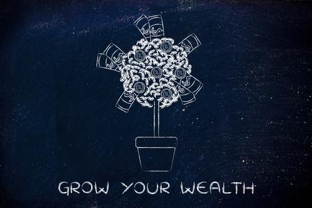 ganancias: hacer crecer su riqueza: árbol con billetes y monedas entre la licencia