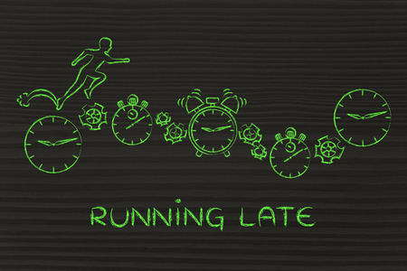 running late: running late: man running on clocks, stopwatches, alarms & gearwheels