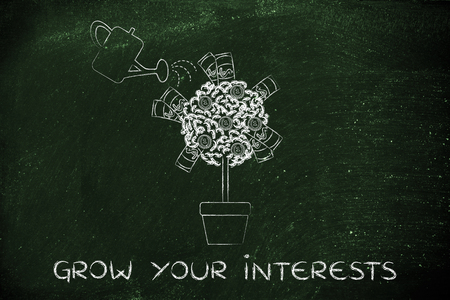 profiting: grow your interests: tree with banknotes and coins between the leaves and water can Stock Photo