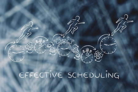 scheduling: effective scheduling: people running on clocks, stopwatches, alarms & gearwheels Stock Photo