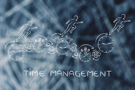 gestion empresarial: time management: people running on clocks, stopwatches, alarms & gearwheels Foto de archivo
