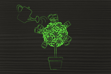 profiting: money tree with banknotes and coins between the leaves and water can